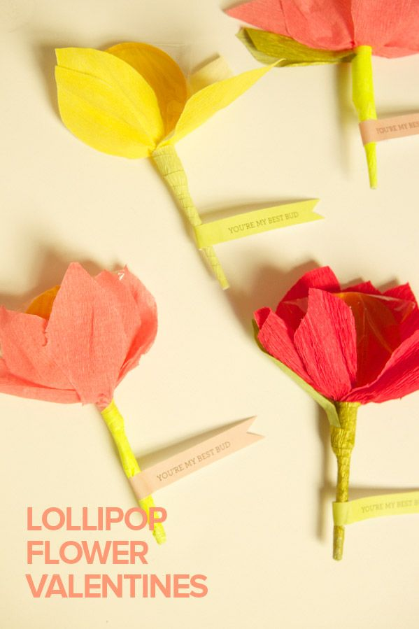 "lollipop flower valentines: ""You're my best bud.""."