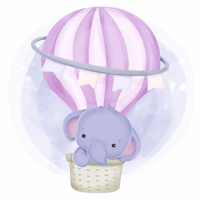 Cute Baby Elephant On Air Balloon Baby Elephant Clipart Watercolor Love Png And Vector With Transparent Background For Free Download Cute Baby Elephant Baby Elephant Baby Elephants Playing