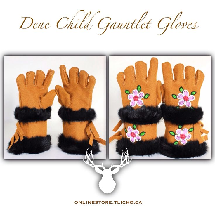 #Dene #Child #Gauntlet #Gloves made by #Tlicho Elder by Mary Christine Chinkon from #Behchoko available-> http://onlinestore.tlicho.ca