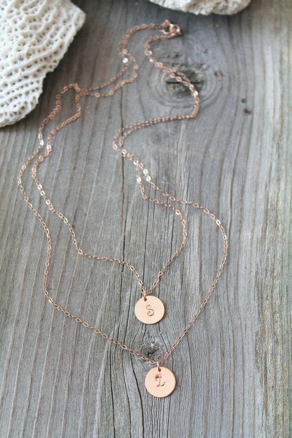 Geschichteten anfängliche Halskette, feine 14K Rose Gold gefüllt doppelte Kette, personalisiert, Monogramm, Custom gestempelt Brief zwei 2 Stränge... Potion No. 9