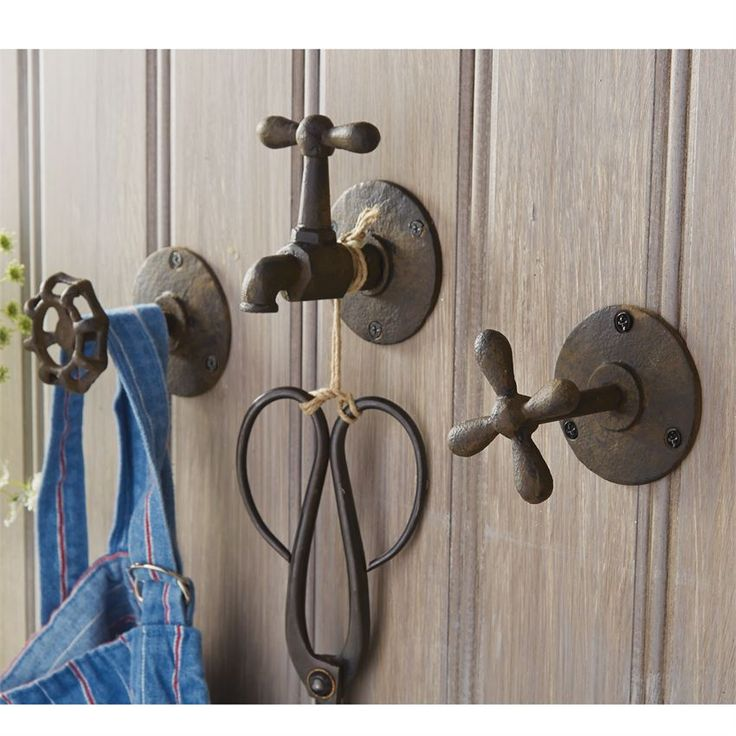 3 styles. Dimensional garden faucet hooks with cast iron finish come ready for wall mounting.