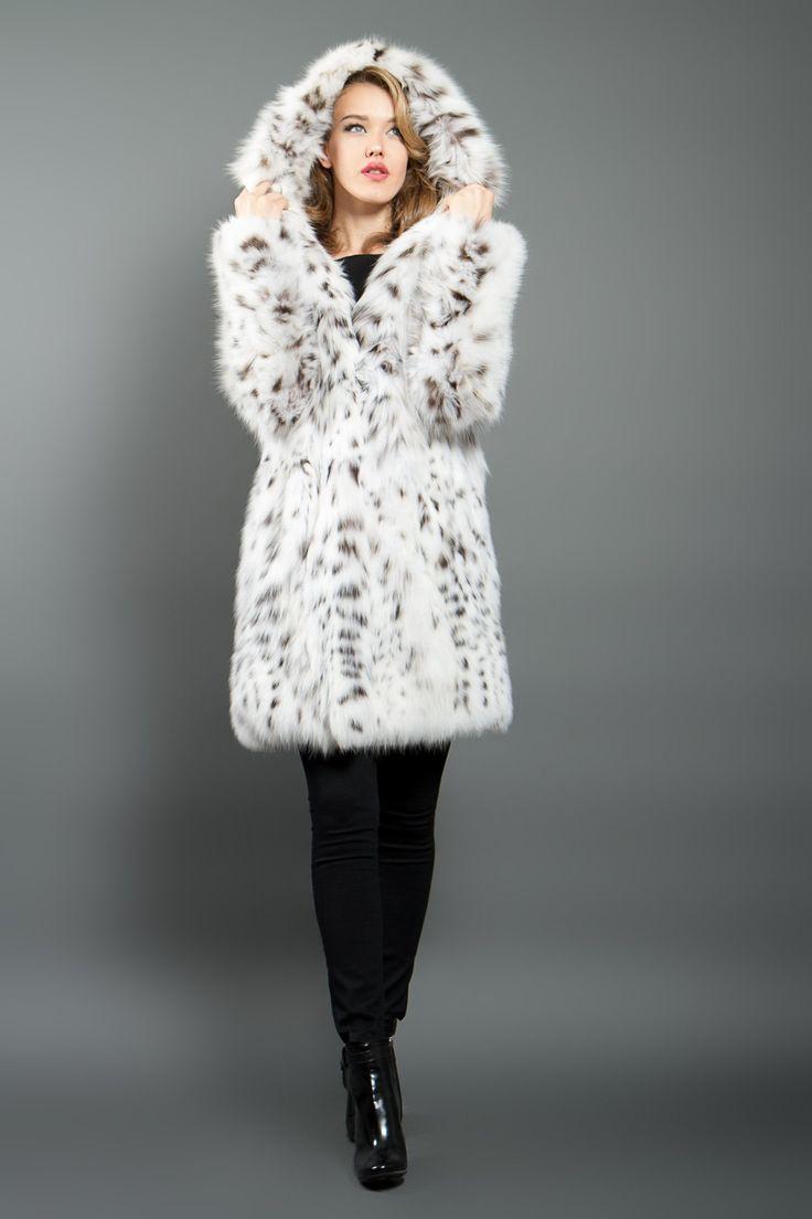 White Lynx Fur Coat with Hood