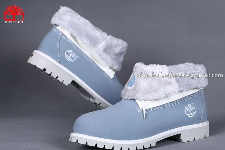 Timberland Men's Roll-Top Classic Boots Baby Blue With Plush $85.00