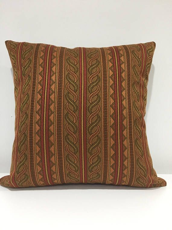 Pillow CoverVintage Stripe FabricEarth Tones Decorative Pillow Delectable Earth Tone Decorative Pillows