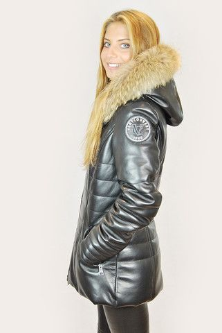 VENT COUVERT FJORD BLACK MID LEATHER PUFFER