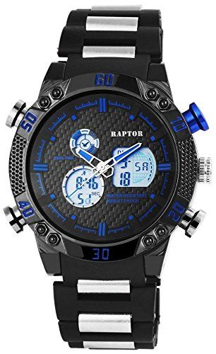 Raptor Analog-Digital Herrenuhr, Kunststoff, Ø 50 mm, Schwarz - 297973000065 - http://uhr.haus/raptor/raptor-analog-digital-herrenuhr-kunststoff-50-mm