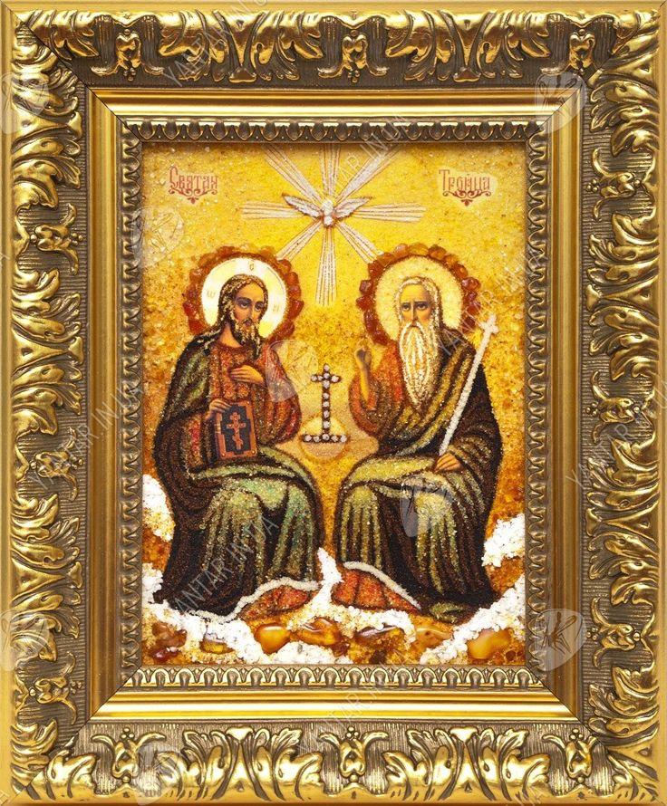 Икона «Святая Троица» - Купить православные иконы, янтарные картины