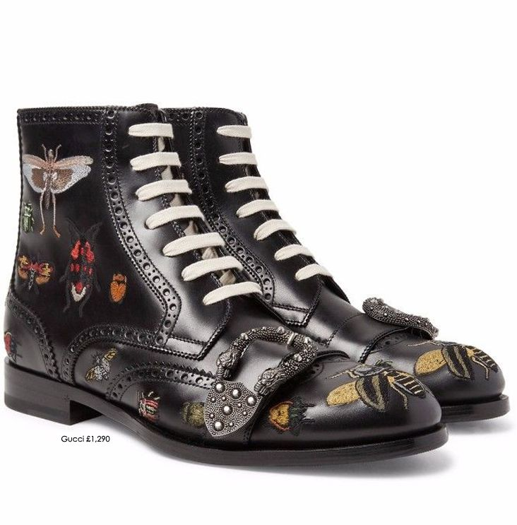 Gucci's AW17 'Alchemist's Garden' Men collection is packed with extravagant details like the intricately embroidered insect motif on these boots. Inspired by the punk movement of the mid-1980s, they combine traditional broguing with the subculture's nonconformist attitude SHOP GUCCI MEN at STILORAMA.COM