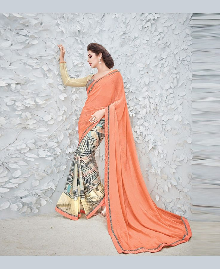 Peach Georgette Printed Saree With Blouse 78911