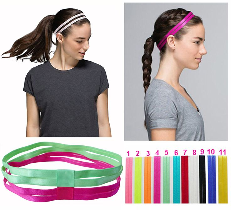 Double Sports Elastic Headband Softball Yoga Anti-slip Silicone Rubber Hair Bands Bandage On Head For Hair Scrunchy