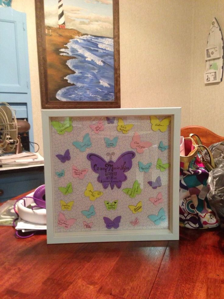 Wooden butterfly cutouts baby shower guest book