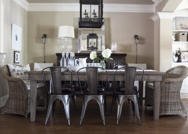 Kubu & tolix chairs-milk and honey: Dining Rooms, Idea, Dining Chairs, Wood Tables, Farmhouse Tables, Metals Chairs, Chairs Design, Wicker Chairs, Tolix Chairs