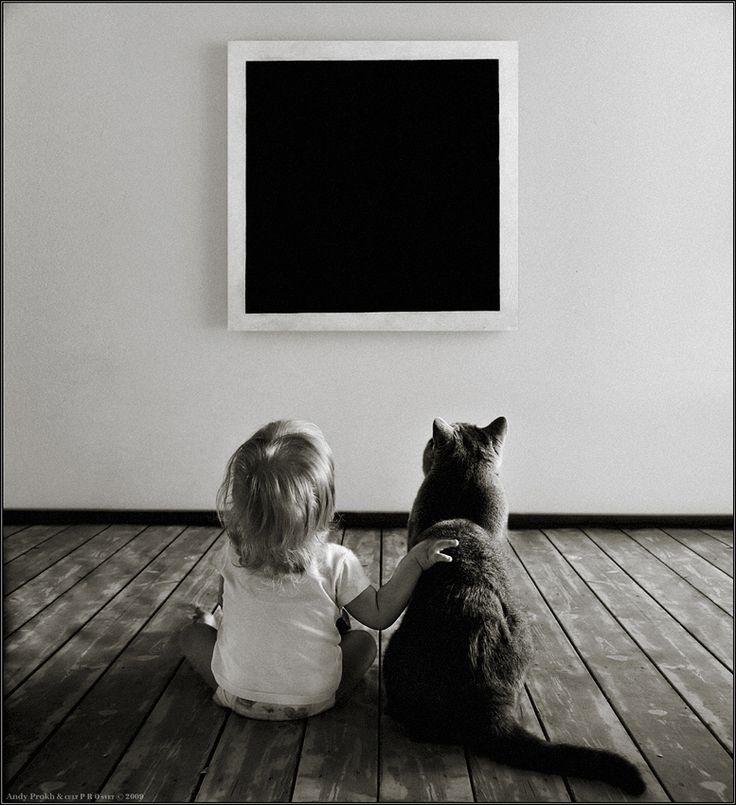 Magic of The Black Quadrate | child, hand, black and white, cat