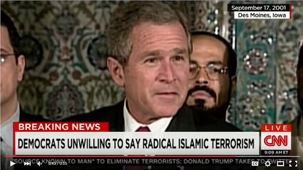 "A new DNC ad feature George Bush as a positive example. Is it really the party of the intellectuals? Tagline: can you say ""radical Islamic terrorism""?"