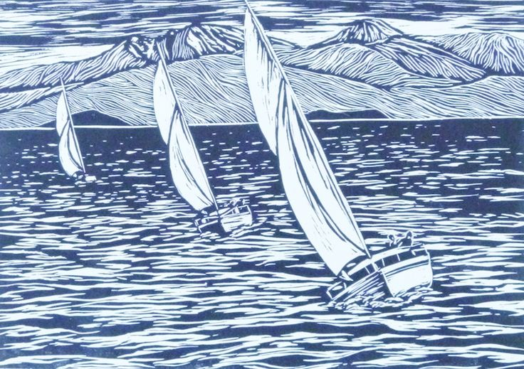 'Rhythm and Sails', woodcut print by Sally-Ann Davies
