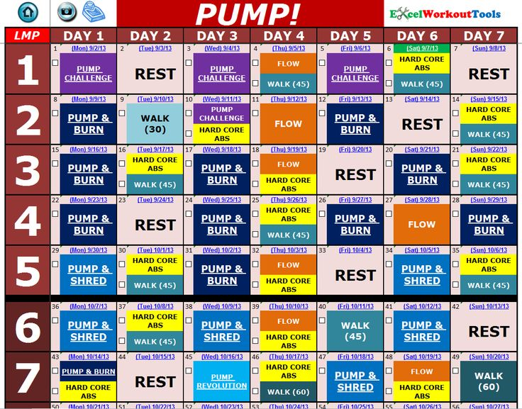 Les Mills PUMP « Excel Workout Tools
