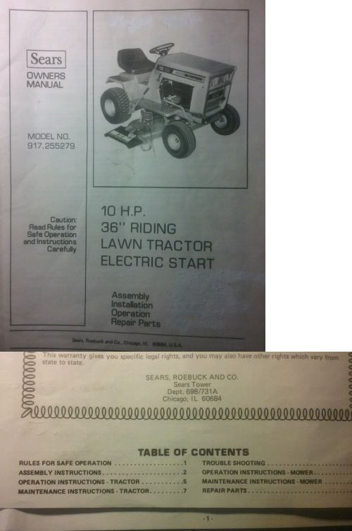 Manuals and Guides 42229: Sears Craftsman Lt 10 36 Riding Lawn And Garden Tractor Owner And Parts Manual 44Pg -> BUY IT NOW ONLY: $42.99 on eBay!
