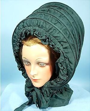 c. late 1700's, 18th Century Calash Bonnet of Green Silk!
