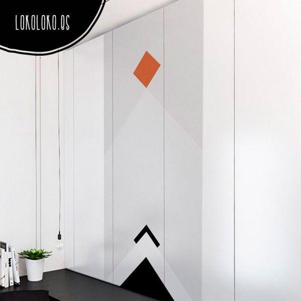 Vinilo de moderno diseño geométrico para forrar puertas de armario empotrado #vinilosarmarios