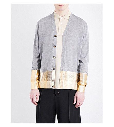 LOEWE Metallic-Trim Knitted Wool Cardigan. #loewe #cloth #knitwear