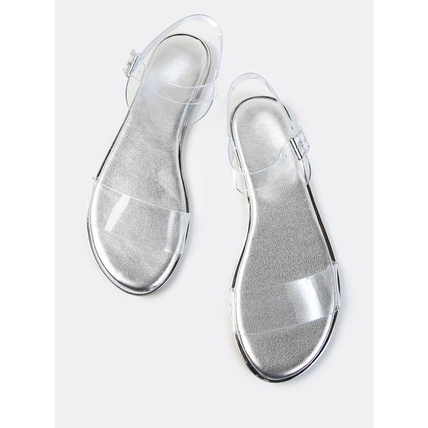 SheIn(sheinside) Open Toe Double Clear Strap Metallic Sandals SILVER (454.480 VND) ❤ liked on Polyvore featuring shoes, sandals, silver, silver strappy sandals, silver low heel sandals, silver low heel shoes, low heel sandals and clear sandals