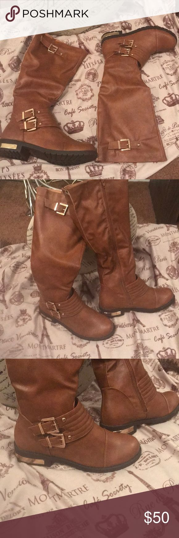 Women Boots Camel Tan Boots Gold Heel accents Two buckle straps  Comes with box Pazzle Shoes Winter & Rain Boots