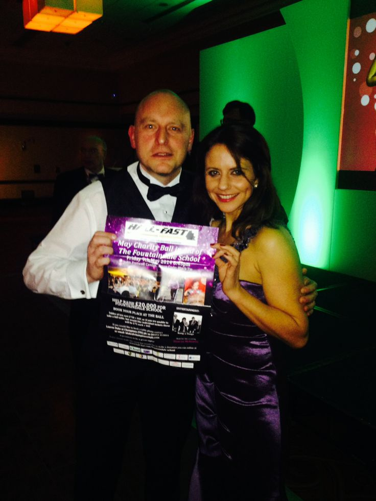 The #HallFastBall poster pictured with ITV weather girl Lucy Kite, at the Midlands Business Awards 2014 - 28th February 2014