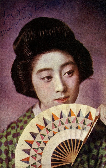 Geiko Manryu with a folding fan, 1920s... designed by a Russian constructivist? .)