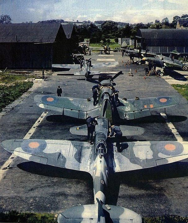 War Planes -- This has to be a rare photo... RAF's Spitfire, Corsair, Martlet and Barracuda.