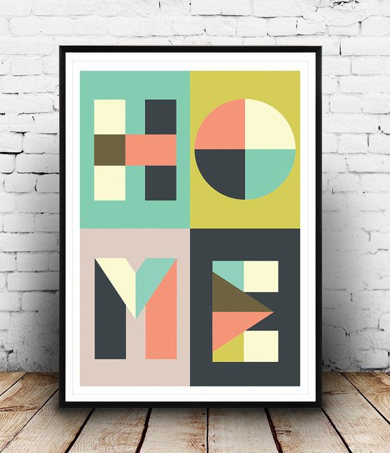 Home print Typography poster Letters print Type by Wallzilla