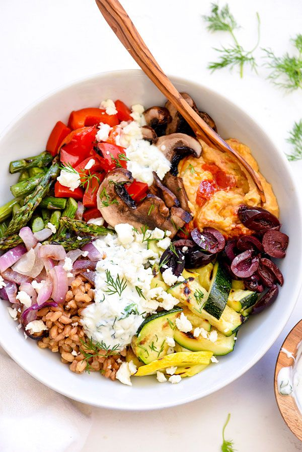Chopped Grilled Vegetables with Farro Bowl from @foodiecrush