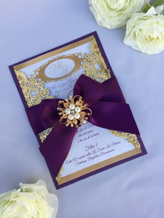 Gold and purple wedding invitation wedding by oohlalaxevents