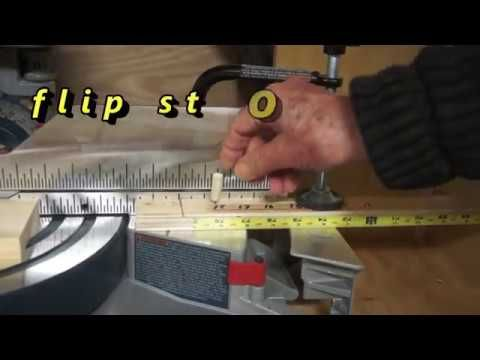 flip safety stop on the right side of the SCMS's blade for repetitive cuts