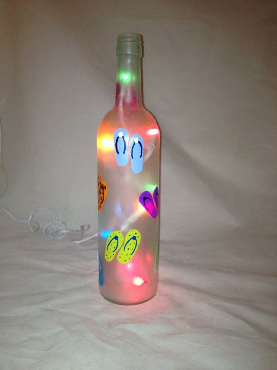 Hand Painted Recycled Wine Bottle with flip by 1stStateSassyGlass, $25.00