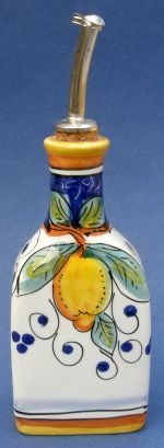 "This Limone Italian ceramic oil bottle will also enhance your kitchen counter top decor. Hold your favorite olive oil, grapeseed oil or other favorite oil that you use for cooking or fresh salads. Made in the Umbria region in Italy, famous for Italian Majolica Ceramics and Pottery. This handmade hand painted authentic Limone oil bottle measures 8""x 3"". With every ceramic shipment, you will receive information about the history, making and care & usage of this hand made ..."