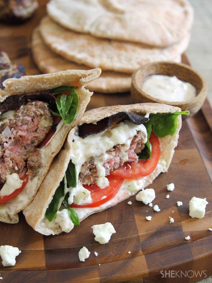 Feta-Stuffed Lamb and Bacon Pita Burgers with Spicy Tzatziki Sauce