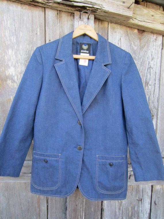 70s/80s Blue Denim Blazer w/ 3/4 Sleeves by Pantter, Men's S Women's M // Vintage Single-Breasted Jacket