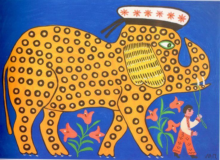 The Little Elephant Who Wanted to Be a Sailor, by Maria Primachenko,  1973.  Style: Naïve Art (Primitivism),   Genre: symbolic painting,   Technique: gouache, fluorescent paints,   Material: paper,   Dimensions: 61.2 x 85.5 cm