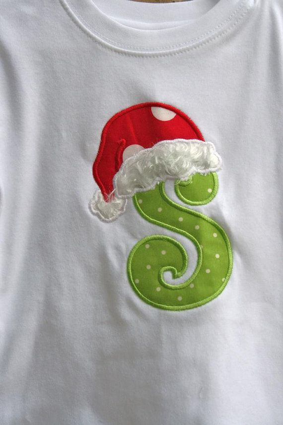 Santa Hat Letter Christmas Applique Tee T Shirt FREE SHIPPING Personalized Free on Etsy, $24.00