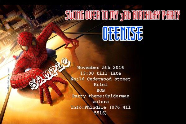 Card: Spiderman Birthday Invitations Black Building