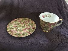Royal Patrician Bone China England Tea Cup and Saucer Pink Flowers Chintz