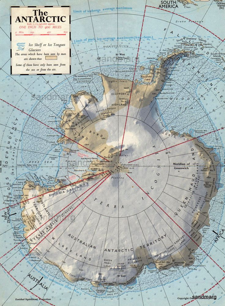 1957 Map of The Antarctic 265 best