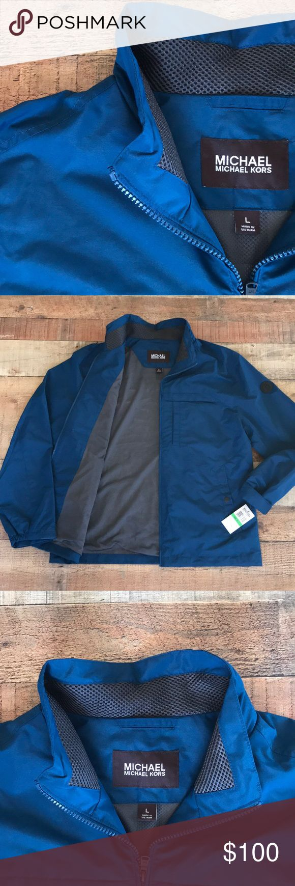 Mens Michael Kors Pacific Blue Jacket New with tags - never worn   Windbreaker paternal  100% Polyester Color- pacific blue  Mesh Polyester lining  Draw strings at bottom to tighten if necessary  2 front chest pockets 2 front side pockets  Functional zipper MICHAEL Michael Kors Jackets & Coats Windbreakers