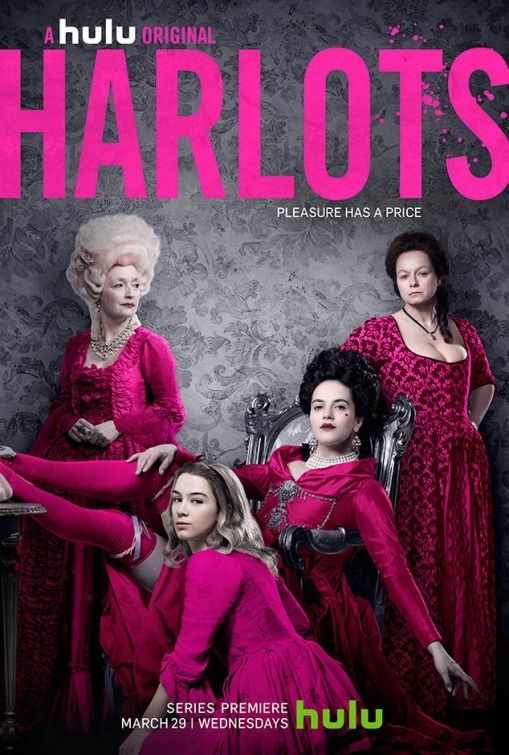 Lesley Manville, Samantha Morton, Jessica Brown Findlay, and Eloise Smyth in Harlots (2017)