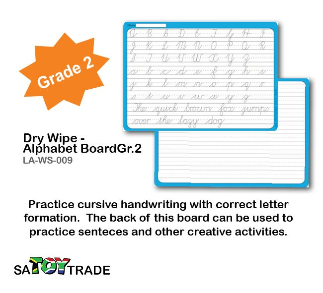 Learn the Alphabet required of a grade 2 student. A great product to exercises extra alphabet and handwriting at home or in the classroom. Only use a whiteboard maker to fill in all the answers, for easy clean and reuse. Activities include cursive handwriting with the correct letter formulation. The back of this board can be used to practise sentences and other creative activities. Develops fine motor skills, handwriting, alphabet, concentration and thinking. Ages Grade 2