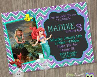 Little Mermaid invitación, invitación de Ariel, Disney Sirenita, cumpleaños de la sirena, princesa Ariel, invitación de sirena