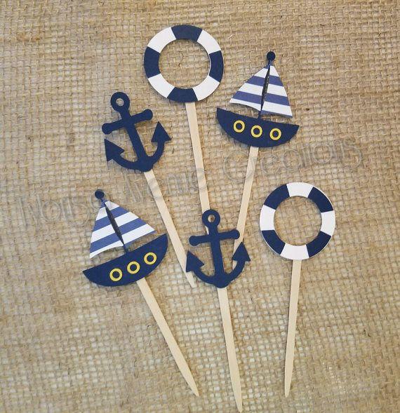 12 Nautical Cupcake Toppers  Anchor Cupcake por TybrisaAveCreations