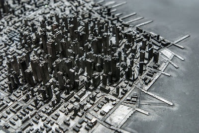 Imaginary topographic/typographic cityscapes made from metal type - Hong Seon Jang