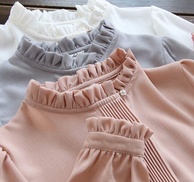 Pleated ruffled stand collar chiffon lady sweet long sleeve shirt blouse pink white grey office blouse female