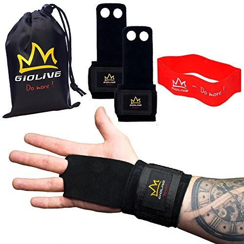 Natural Leather Crossfit Gloves with Wide Wrist Wraps & Resistance Band Set | Best Crossfit Grips, Wodies & Gymnastics Hand Grips For Men & Women by Giolive #Natural #Leather #Crossfit #Gloves #with #Wide #Wrist #Wraps #Resistance #Band #Best #Grips, #Wodies #Gymnastics #Hand #Grips #Women #Giolive